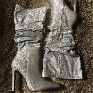Silver glitter heel boot (Never worn)